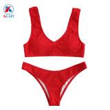 Design personnalisé de haute qualité plaine femme maillots de bain en nylon rouge solide