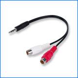 3,5 mm vers RCA Câble audio/vidéo, 3,5 mm mâle vers 2 RCA femelle stéréo AV Câble adaptateur en Y, prise de courant continu