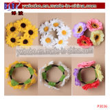 Flower Garland Floral Head Knot Cheveux Top Scrunchie Band Elastic Bridal (P3037)