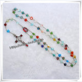 卸し売り祈りの最も新しいガラスカトリック教の数珠は、ガラス円形玉を付けるネックレス(IOcr365)に