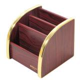 Multi organizador funcional de madeira superior do suporte do armazenamento com borda dourada