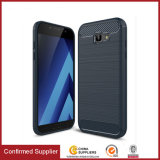 Caso suave de la cubierta TPU del teléfono celular de la fibra del carbón para Samsung A3 A5 A7 2017