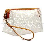 Sac cosmétique coréen de transparence multifonctionnelle de sac de sac de renivellement d'impression de léopard de blocage de fermeture éclair d'usine