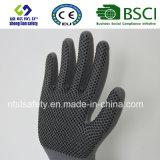 Gant de travail de sûreté de points de PVC d'interpréteur de commandes interactif de polyester