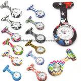 Los patrones de Flor de cebra enfermera silicona Llavero reloj reloj de bolsillo de la fecha del calendario de regalo para los médicos de hospitales de la enfermería mirar