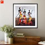 Het abstracte Moderne Dansende Afrikaanse Olieverfschilderij van de Vrouw