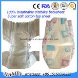 布が付いている通気性の使い捨て可能な赤ん坊のおむつはおむつを好む