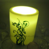 Padrão Printed Pillar Plastic Ivory Cor Vela com Soft Warm White Light Flickering