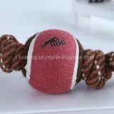 Productos para mascotas Juguetes de cuerda de perro con una pelota de tenis (KT0001)