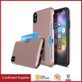 Caixa de tecelagem líquida do telefone de pilha do cartão do entalhe do lado de grão para o iPhone 8/8 positivos/PC 2 do iPhone X TPU em 1