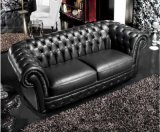 Sofá de couro e sala de estar europeia simples