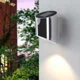 Luz accionada solar al aire libre de la pared del camino del jardín del acero inoxidable LED