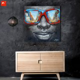 Sonnenbrille-afrikanisches schwarzer Mann-Ölgemälde