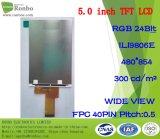 """5.0 """" visualizzazione dell'affissione a cristalli liquidi personalizzata 40pin di 480*854 RGB 300CD/M2 TFT"""