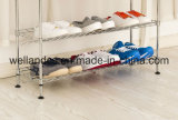 Organisateur de rangement à chaussures en métal chromé ajustable à 4 niveaux
