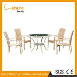Jardín del diseño popular al aire libre muebles de ratán UV-resistente Presidente Juego de mesa
