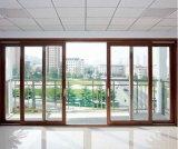 Portello scorrevole di alluminio di vetro Tempered del grano di legno principale del prodotto di Woodwin doppio