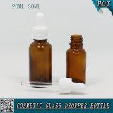 20ml 30ml Botella de aceite esencial de vidrio de color ámbar con tapa de plástico blanco Tornillo Dropper