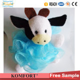 Klb-103 샤워 분첩 도매 암소 장난감 목욕 갯솜 PE 메시 목욕 공