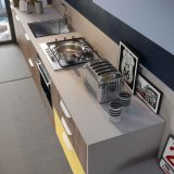 De hoge Keukenkasten van de Melamine van de Korrel van het Eind Houten Sociale Multifunctionele