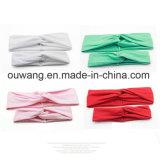 Traversa di vendita calda Hairbands solido del nodo di torsione del turbante del cotone per la donna