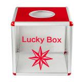 Em acrílico transparente de recordações compartimentos caixa de loteria portátil pequeno tamanho B8075