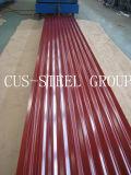 Feuille enduite en acier ondulée de plaque d'appui de couleur de la Zambie/toit de couleur