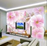 習慣サイズのソファーTVの壁ペーパー写真の優雅な花の壁紙