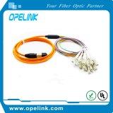Conjunto de cabo ótico do Fanout do LC do cabo de correção de programa do cabo pendente MPO da fibra óptica da telecomunicação