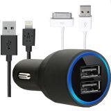 Novo carregador de automóvel USB duplo com anel do LED azul