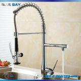 Chrome à levier unique extraire l'eau du robinet évier de cuisine en laiton