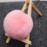 밝은 광택 실제적인 토끼 모피 Ponpom Keychain 모자 훈장