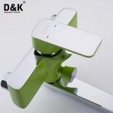Chrome en laiton de qualité populaire élégante et long robinet vert de baquet de salle de bains de bec