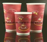Parede de ondulação de alta qualidade 4oz 8 oz 12oz 16oz copos de café de papel com tampas