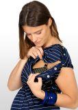 Vestito da sera di maternità di bambù a strisce blu & d'argento