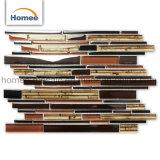 Tira Caliente de venta de descuento diseño cocina Backsplash marrón colorido mosaico de vidrio