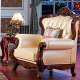 Mobilia del salone con il sofà di cuoio classico (508)