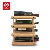 9-12 Flaschen-festes Holz-Wein-Regal-stehende Wein-Bildschirmanzeige-Zahnstange