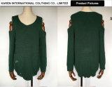 Maglione aperto del Knit della spalla di modo delle donne