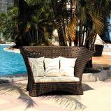 Les loisirs de plein air des meubles en rotin synthétique canapé ensemble avec pouf