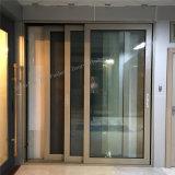Perfil de metal recubierto de polvo de puerta corrediza de aluminio con doble vidrio
