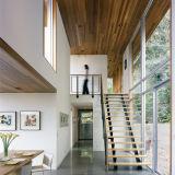Escalera de cristal recta del diseño moderno 2017 con la pisada sólida de la escalera del roble