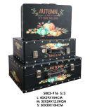 Conjunto casero de la decoración de la joyería Box&#160 de la maleta del estilo de 3 otoños; Rectángulo de madera del caso de madera