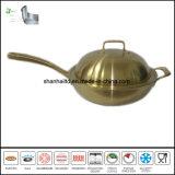 Lichaam van de Wok van het titanium het Gouden in drievoud Al Beklede Cookware