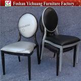 Cadeira de jantar traseira do Oval preto de couro de prata do frame do metal do plutônio Yc-D217