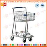 Тележка вагонетки покупкы супермаркета металла 2 корзин покрынная цинком (Zht192)