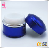 Azul y tarro poner crema antigotas coloreado plata para llenar