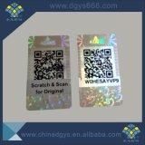 Código barato de encargo de Qr una etiqueta engomada del holograma del uso del tiempo