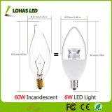 Lohas E12 가지가 달린 촛대 LED 전구 60W 동등한 LED 전구 (6W) 2700K는 가정 점화를 위한 공정한 판단 가이드 초를 데운다
