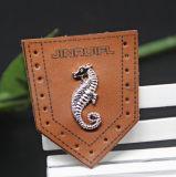 De klassieke Flarden van de Jeans van het Leer van het Embleem van het Metaal. Het Ijzer van het leer op Flard voor GLB